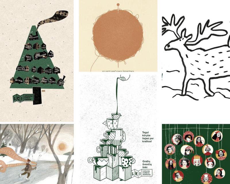 Kalėdinių atvirukų fragmentai