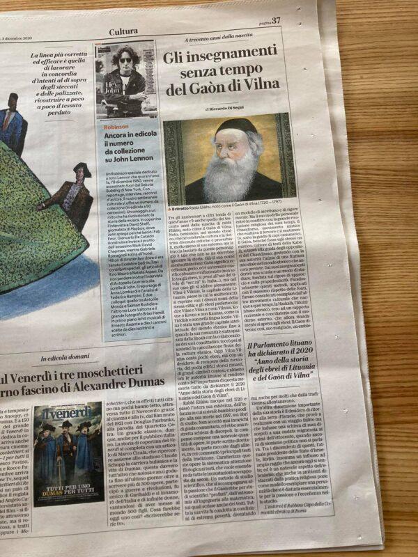 """Italų dienraštyje """"La Repubblica"""" – vyriausiojo Romos rabino straipsnis apie Vilniaus Gaoną"""