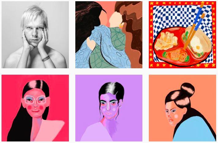 Grafikos darbų koliažas. Vaizduojami žmonių veidai