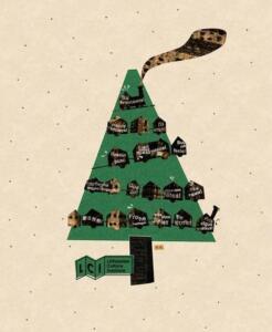 """Kalėdinis atvirukas, kuriame pavaizduota žalia elgė ir ją puošianti traukinio vagonėlių girlianda. Ant kiekvieno vagonėlio sveikinimas """"su šventėmis"""" skirtingomis kalbomis."""
