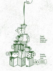 Atvirukas: vaizduojama iš puodelių ir stačiakampių dėžučių sukrauta piramidė, į kurią iš viršaus yra liejamas žalios spalvos skystis.