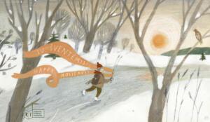 LKI kalėdinis atvirukas: vaizduoja užšalusia upe pačiūžomis čiuožiantį žmogu žieminiais rūbais. Rankose čiuožėjas laiko dovaną, nuo kurios nusidriekę ilgi oranžiniai kaspinai. Abipus apsnigtų upės krantų – medžiai be lapų. Virš horizonto kyla saulė